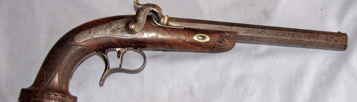 Belgian percussion dueling pistol, #2 of a set, cased Photo